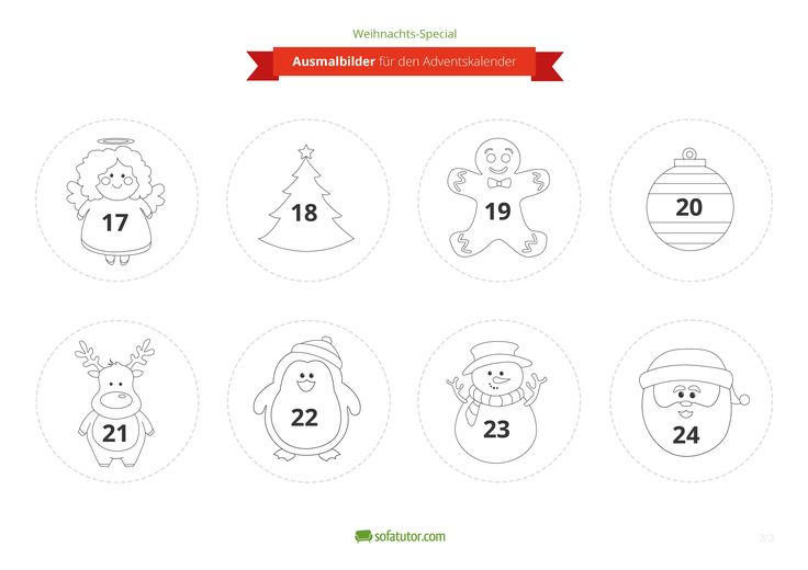 Der Weihnachtskalender, den sich jede Familie wünscht: Sie brauchen nur wenige Materialien, er ist schnell und einfach gebastelt und Ihr Kind kann fleißig mithelfen. Verziert werden die kleinen Geschenktüten des Adventskalenders mit Ausmalbildern, die Sie kostenlos ausdrucken können: http://magazin.sofatutor.com/eltern/2014/10/10/schnell-und-einfach-adventskalender-basteln/