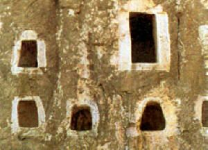 Sassanid Ossuary Tombs in a Khark Island cliff face