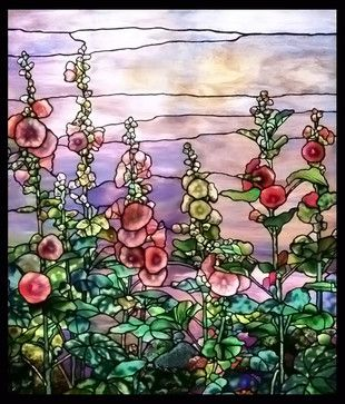 Tiffany Hollyhocks Bathroom Stained Glass - Bathroom - dallas - by Stained Glass Inc