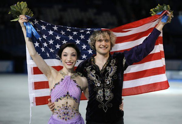 Meryl Davis and Charlie White won the gold medal in ice dance Monday, the first Olympic title in the event for the United States.  Tessa Virtue and Scott Moir of Canada, the 2010 champions, took silver. Russia's Elena Ilinykh and Nikita Katsalapov captured bronze. :)