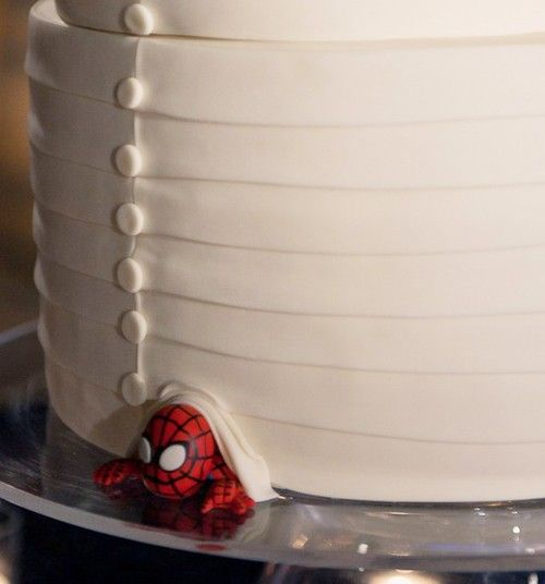 At the bottom of the cake, hide whatever the groom likes... sports mascot, band logo, anything.: Sports Mascot, Cakes Ideas, Bands Logos, Cute Ideas, Spiders Man, Wedding Cakes, Hidden Character, Super Heroes, Grooms Cakes