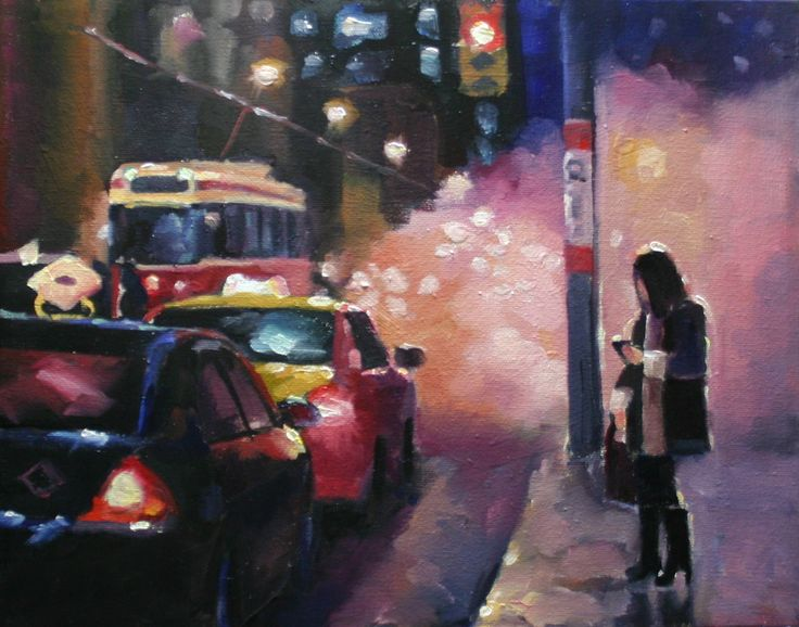 A young woman waits for public transit on her way home from work on a winter day. https://www.facebook.com/cjeffreystudio