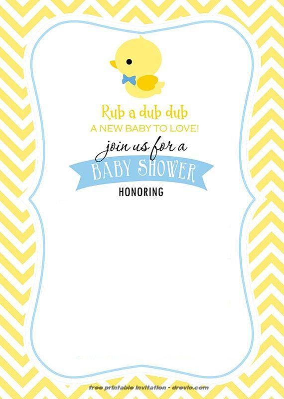 Free Printable Rubber Duck Invitation Template Baby Shower