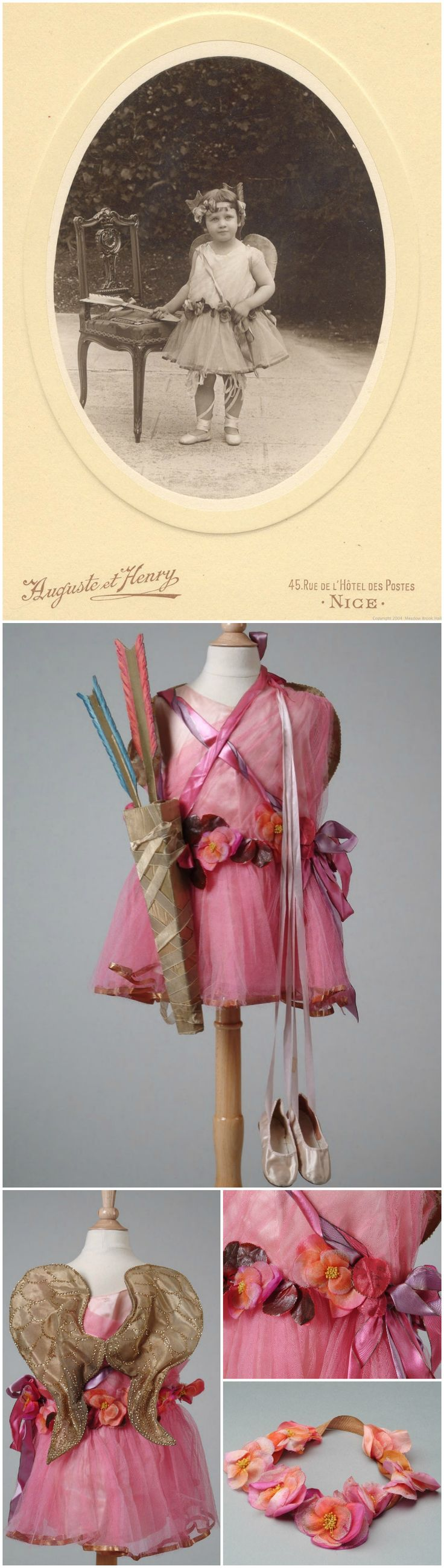 Girls angel costume of pink silk crepe with skirt and draping of bright pink silk net,  wings of gold metallic tissue, satin slippers, flowered headband, and quiver of gold arrows. Callot Soeurs, Paris. 1922. Meadow Brook Hall Historic Costume Collection. Worn by Anna Margaret Dodge, youngest daughter of Matilda Rausch Dodge Wilson, while in Nice, France. She was photographed wearing the costume by Auguste et Henry on March 6, 1923.