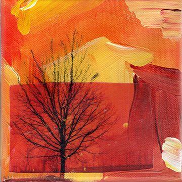 """Tree by Kim Lee Kho, 2014 Acrylic, charcoal and image transfer on canvas, 6"""" x 6"""". www.kimleekho.ca"""
