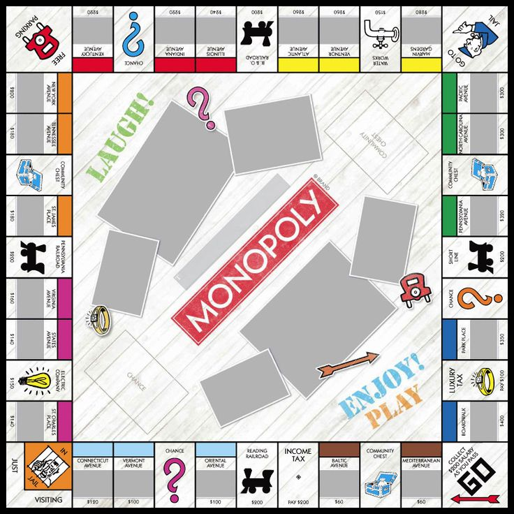 Driftwood monopoly games custom personalized vacation for Custom monopoly board template
