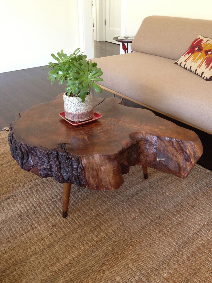 1946 best live edge wood work images on pinterest for Lovable wood slab coffee table