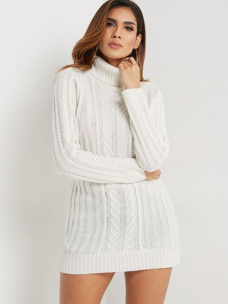 474e92255f41 US $ 23.95 White Cable Knit High Neck Long Sleeves Sweater Dress #ShopStyle  #shopthelook