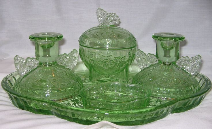 Sowerby Green Glass Butterfly Pattern Dressing Table Set
