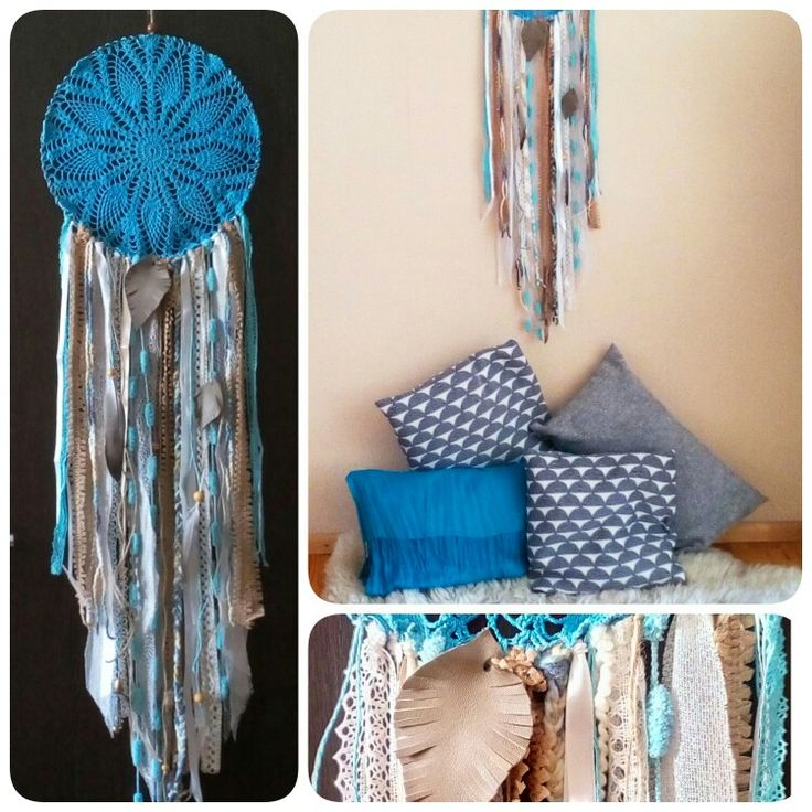 Big skyblue doily crochet dreamcather with lace, leather, wooden and feather details / wallhanhing homedecor gypsy boho bohemian wildspirit blue turqouse grey pillows blue  homewarming