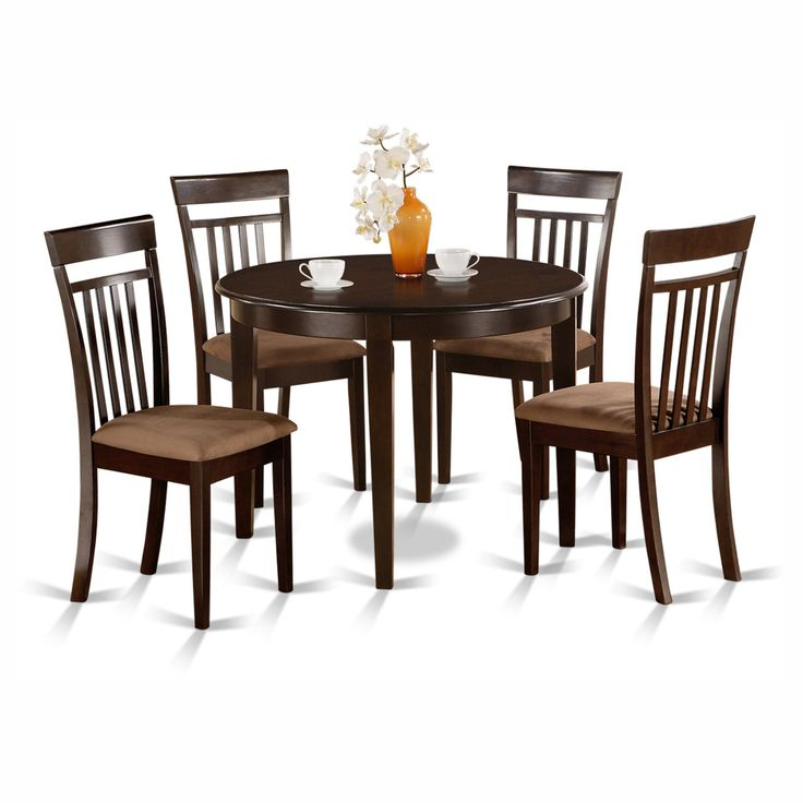 East West Furniture Boston 5 Piece Round Dining Table Set with Capris Microfiber Seat Chairs - BOCA5-CAP-C