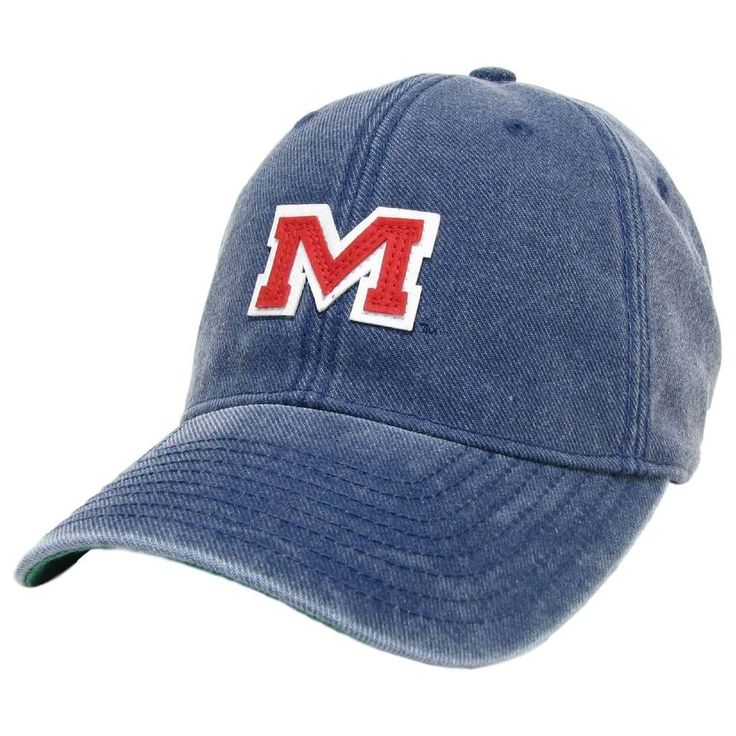 Ole Miss Vintage M Hat in Navy by Hotty Toddy Outfitters. Great looking navy blue hat with featuring a felt applique of the Ole Miss M Logo and a Premium Leather Strap. #HottyToddy