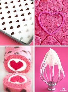 """""""O amor está por toda parte"""" Rolo do bolo {O rolo do bolo do coração-modelado facilitou com uma MISTURA do BOLO, enchida com uma geada do queijo de creme chicoteada nuvem-like, e revela um coração bonito com cada fatia}"""