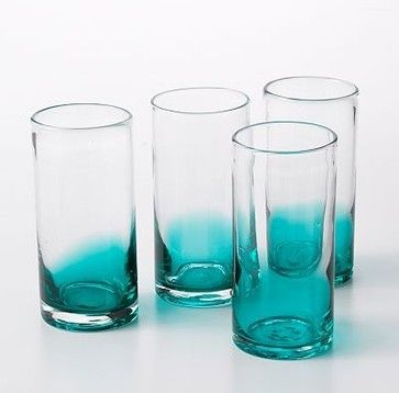 Bobby Flay Ombre Highball Glass Set, Teal contemporary glassware