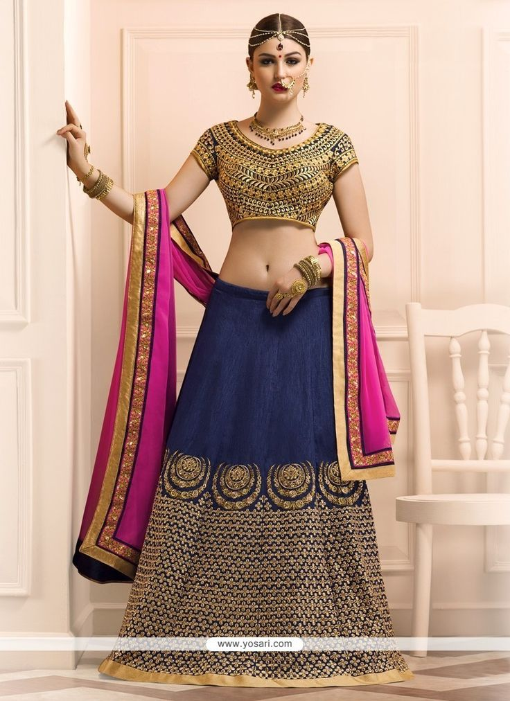 Delectable Banglori Silk Navy Blue Embroidered Work A Line Lehenga Choli Model: YOLEN3076