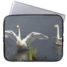 Whooper swan family laptop computer sleeves
