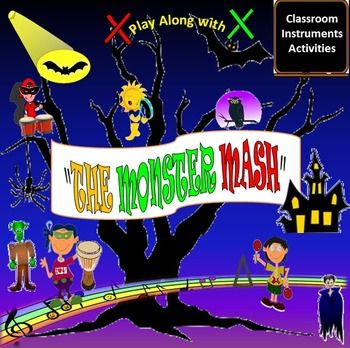 "Beginner Level	  Rev-Up your classroom with this EASY to Read and Play original Classroom Instrument arrangement of the Pop Halloween Song: ""The Monster Mash"" by Bobby Pickett.  Packet Includes:  Option 1: Picture Graph: Drums, Rhythm Sticks, Triangle   Option 2: Picture Graph: Drums, Rhythm Sticks, Triangle, Maracas, Tambourines   Traditional Music Notation: Quarter Notes, Double Eighth Notes, Whole Note  Color Coded Traditional Music Notation for easy read.  Black Traditional Music…"