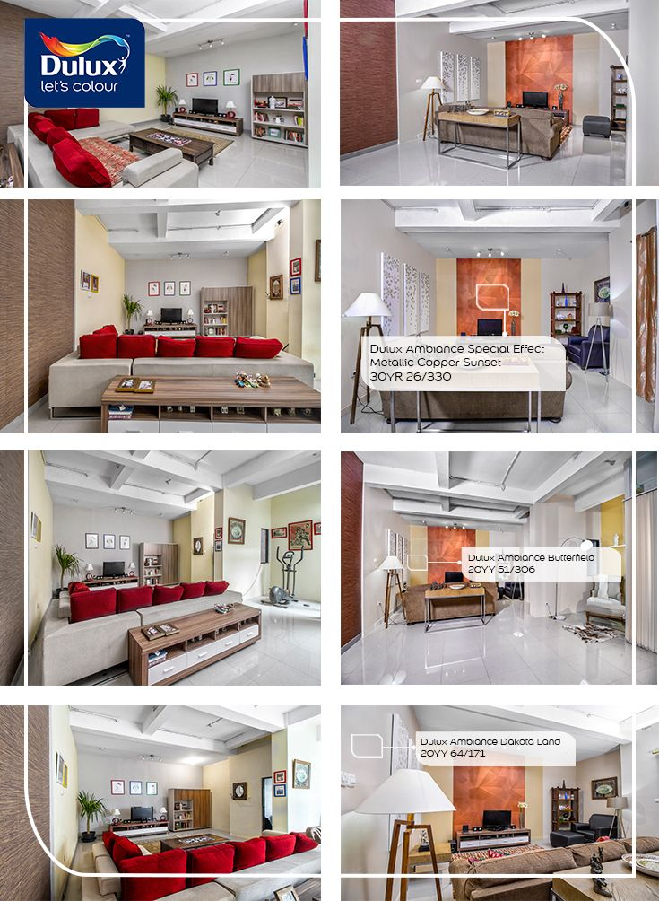 DIY Meredecorate living room dengan sentuhan Dulux Ambiance™ Metalic sehingga memiliki kesan mewah. By Dulux