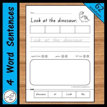 Sentence worksheets for junior students. A total of 62 activity sheets that use basic sight words as the sentence starter. Activities on each worksheet: ♦ WRITE your name. ♦ READ the sentence. ♦ CUT and GLUE the words in the correct order. ♦