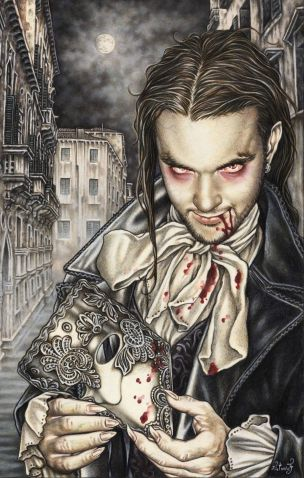 VAMPIRE =  Créature légendaire (Mythologie ancienne). Mort-vivant se nourrissant du sang pour en tirer sa force vitale. (Illustration : VICTORIA FRANCES - Vampire)