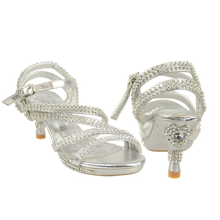 Kids Evening High Heel Heart Rhinestone Asymmetrical Straps Dress Sandals Silver Pageant Shoes