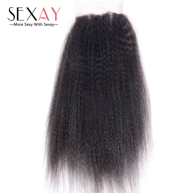 Brazilian Kinky Straight Closure Baby Hair SEXAY 8A Brazilian Virgin Hair Closures Yaki Straight Lace Closure Bleached Knots