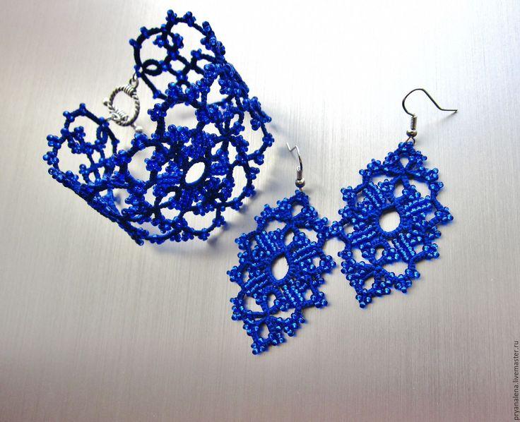 """Купить Кружевной браслет фриволите """"Анжела"""" синий легкий плетеный - тёмно-синий, синий"""