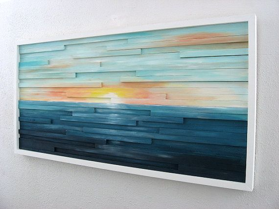 Abstract Landscape Painting on Wood, Wall Sculpture, Wood Wall Art