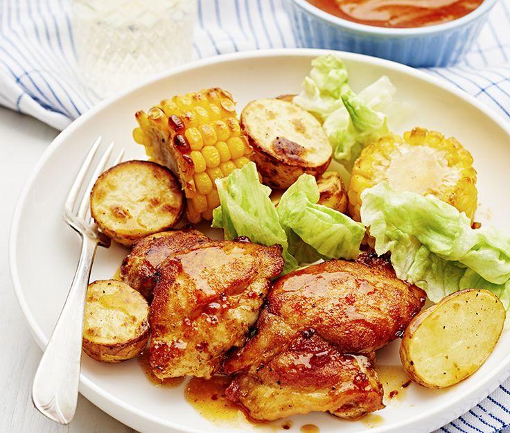 BBQ-kyckling med rostad majskolv