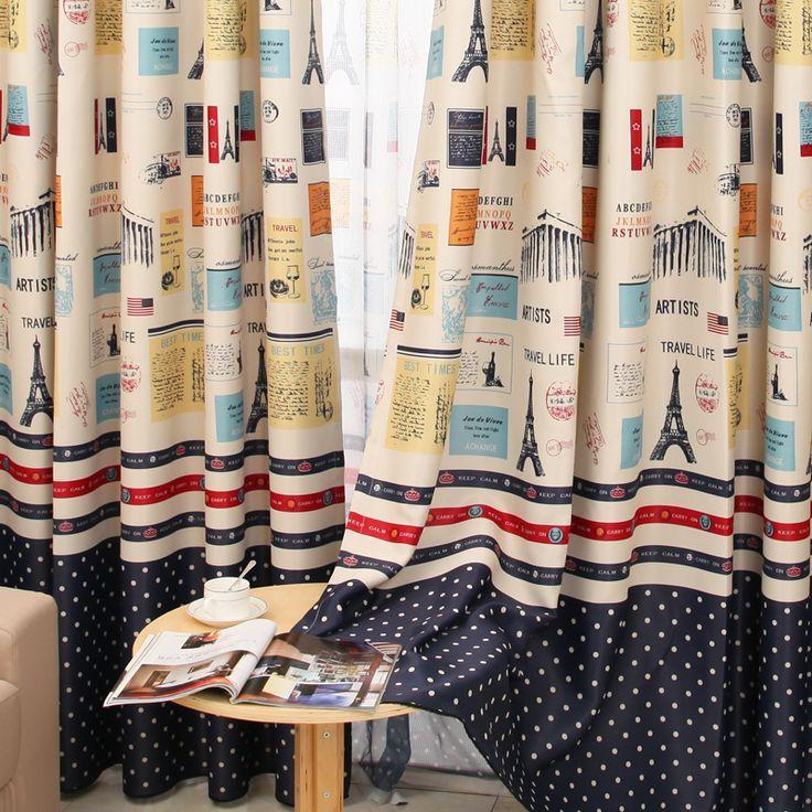 Encontrar Más Cortinas Información acerca de Nuevo diseño de estilo mediterráneo cortinas para sala de estar parís torre infantil chicos Cortina cortinas oscuras para la ventana del dormitorio, alta calidad pista de la cortina, China cortina blanca Proveedores, barato cortinas mayoristas de Fiona's Store 439751 en Aliexpress.com