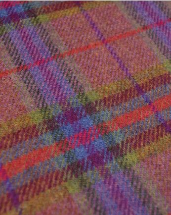 Pure Wool Donegal Tweed Fabric | Pink & Green Plaid | Truro Fabrics