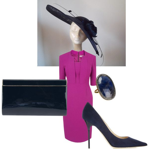 Navy & Radiant Orchid Derby Ascot Outfit with Navy Saucer Hatinator