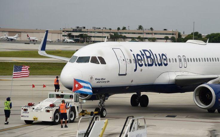 Jet-Blue-Maschine mit Kuba- und US-Flagge: Am Mittwoch hat die erste Maschine...