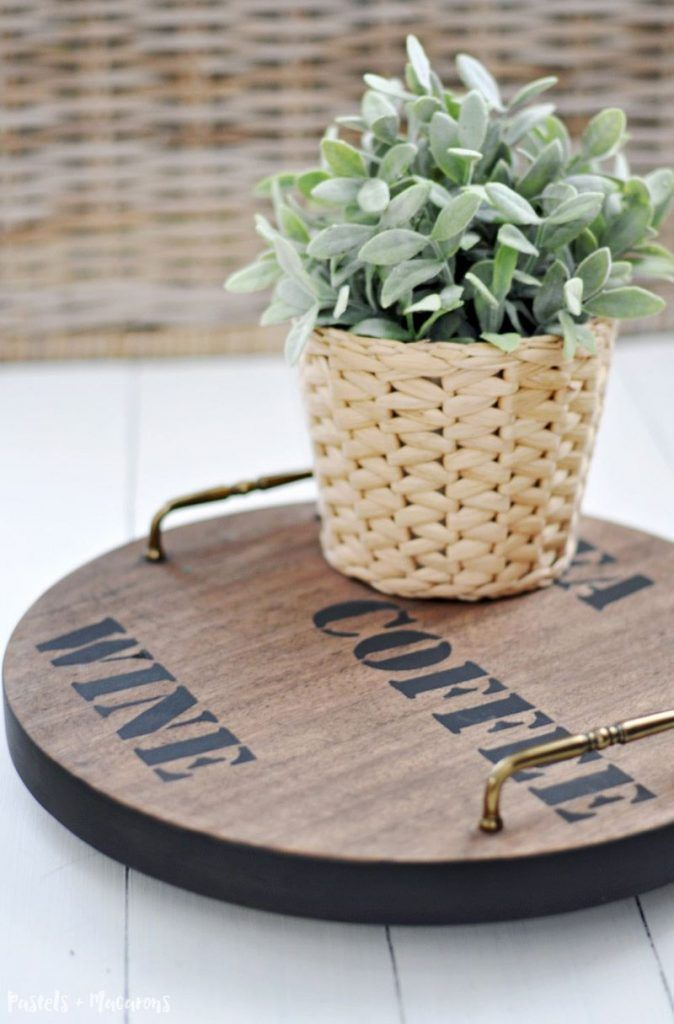 DIY Lazy Susan turnable serving tray I upcycled from an old stool and turned into this beautiful farmhouse Lazy Susan perfect for any kitchen. Click the image to learn how to make it.