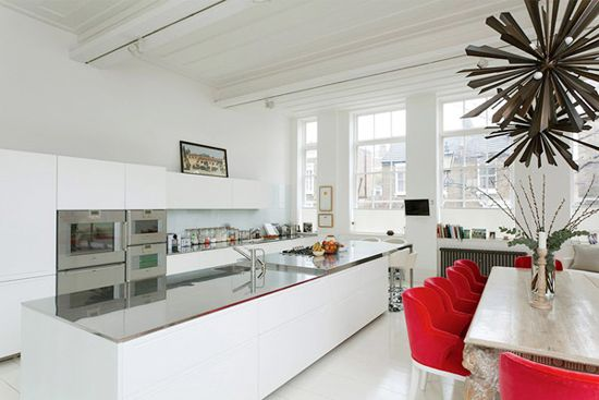 Art in the kitchen. #painting #decor #modern #white #red
