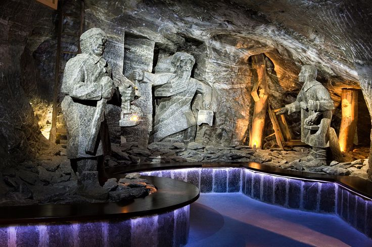 """The interior of the """"Wieliczka"""" Salt Mine is a perfect setting for organising a training session, event, a ball, a press conference or an unforgettable wedding. wieliczka, salt, mine, poland, krakow, Cracow,  cave, church, arch, sculpture, bar, vault, rock, statue, archaeology, arc, column, surrounding, deep, history, windlass, winch, ceiling, cable, depth, old, stage, wood, wall, chambers, underground, barrel, longitudinal, crystal, salty, shaft, art, museum"""