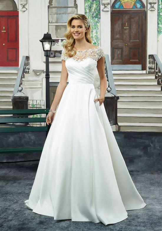 a76bd8b12c6 Justin Alexander - Style 8943  Mikado Ball Gown with Ruched Bodice and Cap  Sleeves