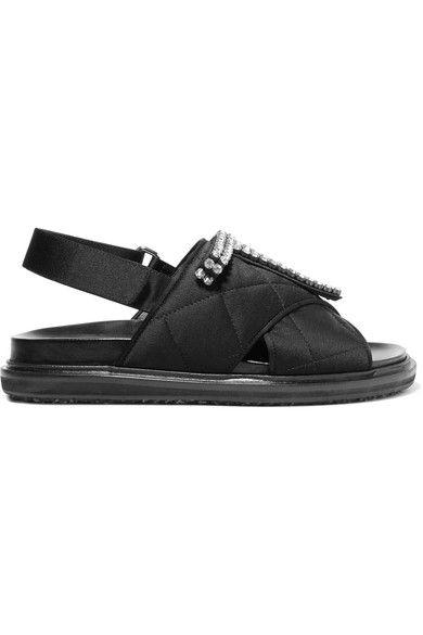 Marni - Crystal-embellished Quilted Satin Sandals - Black - IT40.5