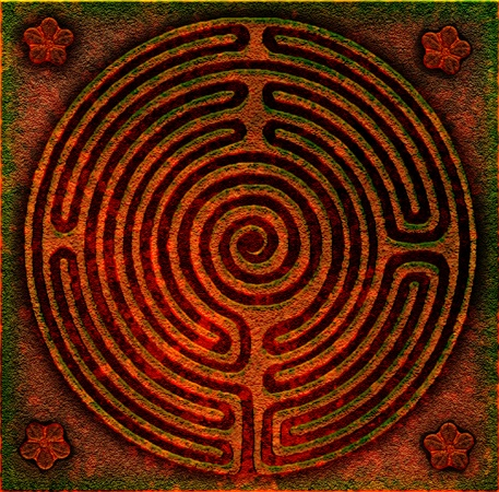 labyrinth  - distressed bronze by Tom Butler #TB #TechnoglyfLabyrinths Thinkin, Spirals Paisley Labyrinths, Spirals Paisleys Labyrinths, Labyrinths Art, Bronze Labyrinths