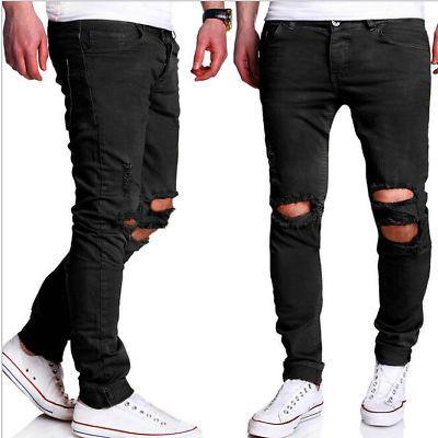 Mens Jeans Denim corredores sólido de SARGA TWILL Cordón Pantalones Jogger Pants Slim