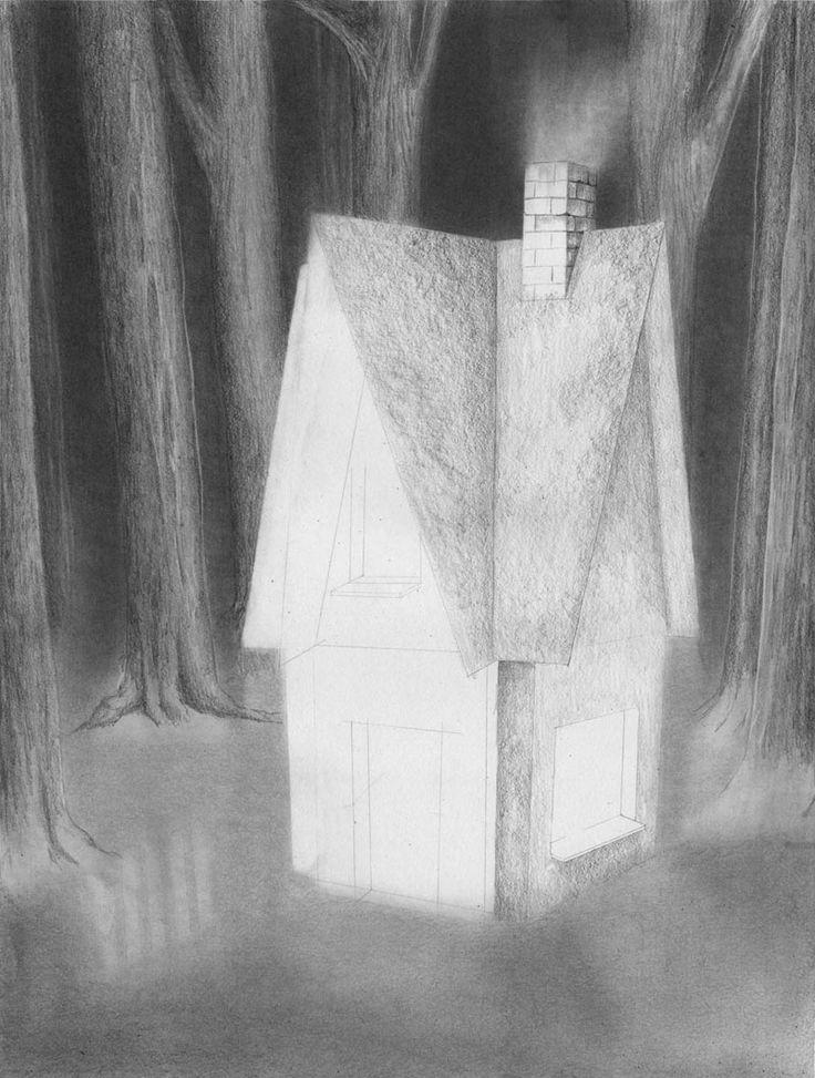 Zeichnen lernen - Haus im dunklen Wald zeichnen - Tutorial
