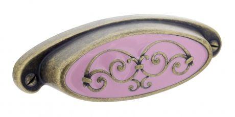 Poignée de porte ou tiroir de meuble en zamak rose entraxe 64mm, CANDICE | Bouton et poignée de meuble