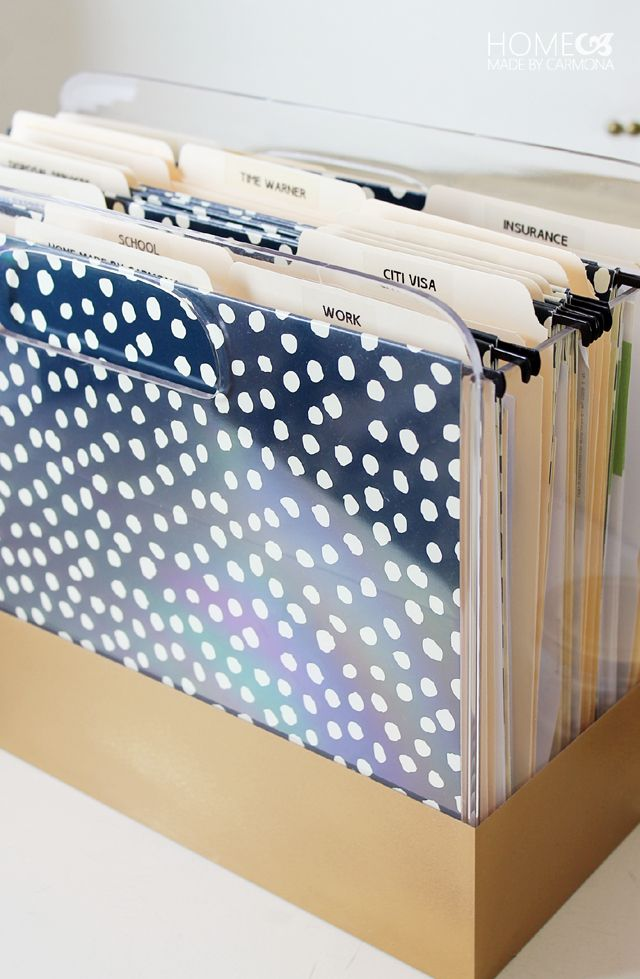 Office Organization I Lucite, gold, black & white dots - DIY