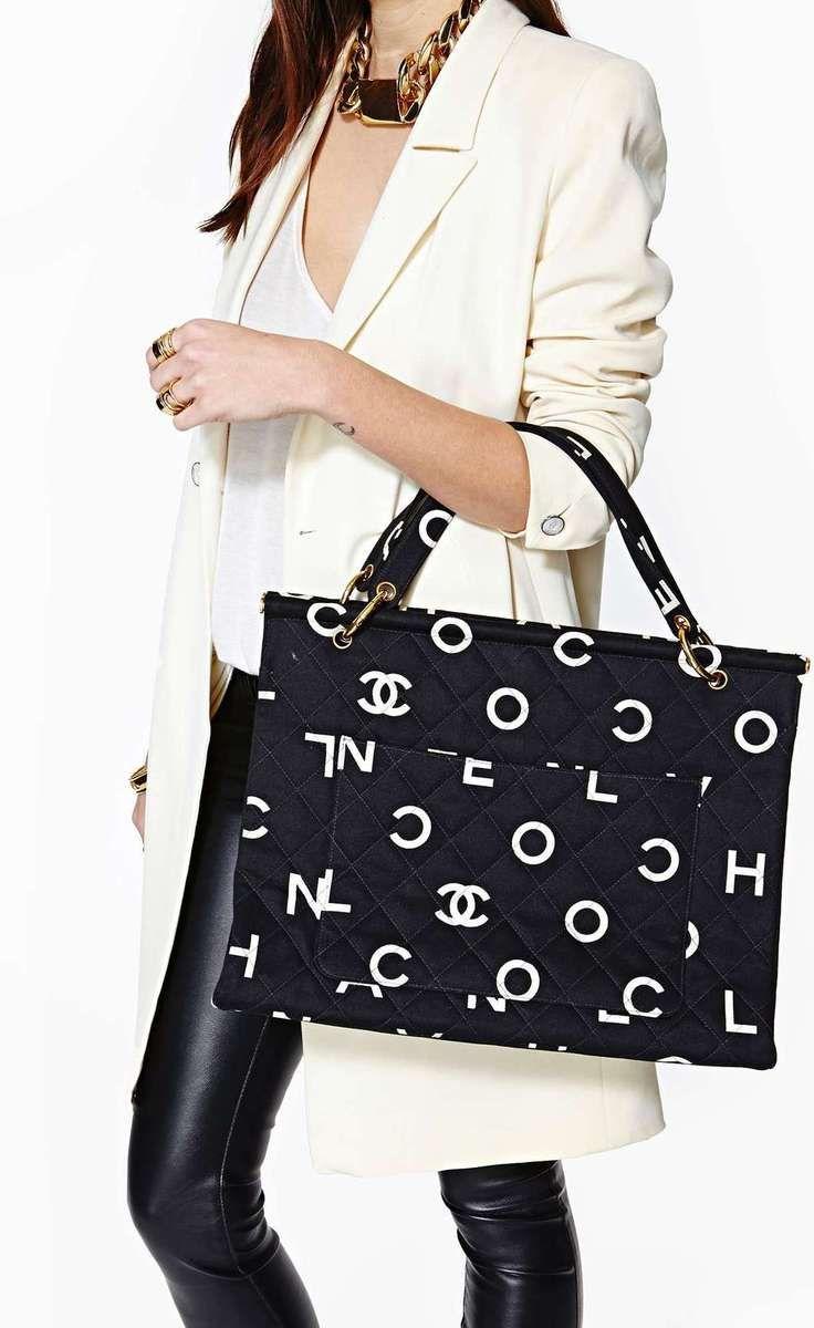 Chanel black & white tote.