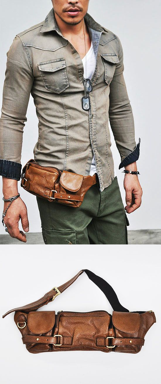 Accessories :: Bags :: Re)Multi-compartments Leather Hipsack-Bag 92 - Mens Fashion Clothing For An Attractive Guy Look