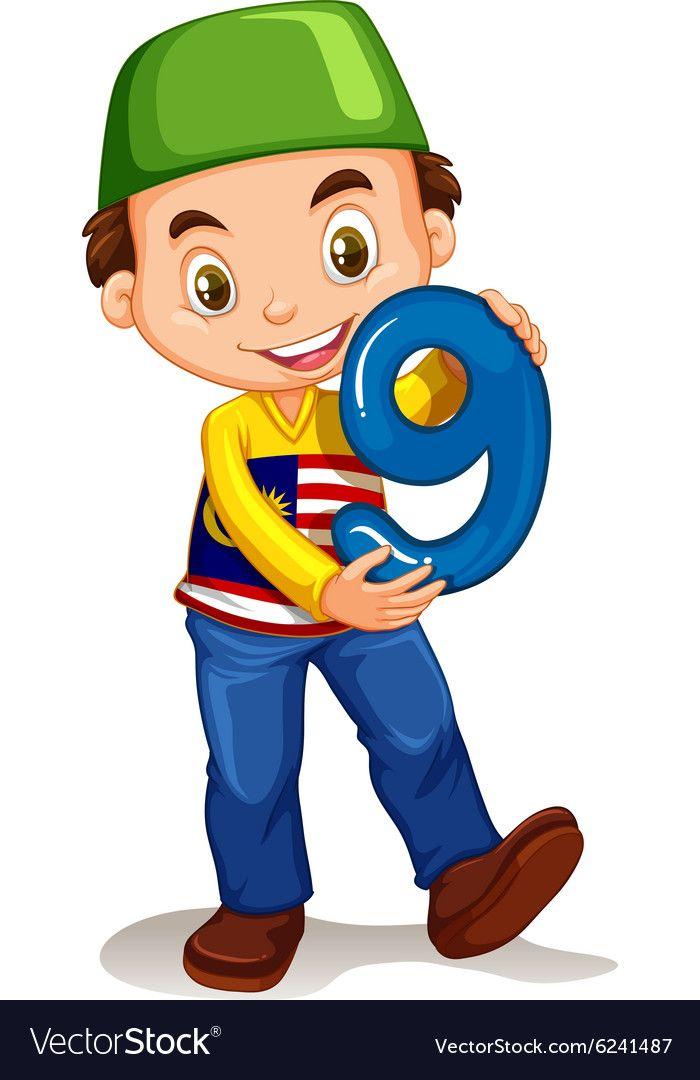 little boy holding number nine vector image on