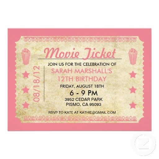 Best Movie Ticket Invitation Template Images On