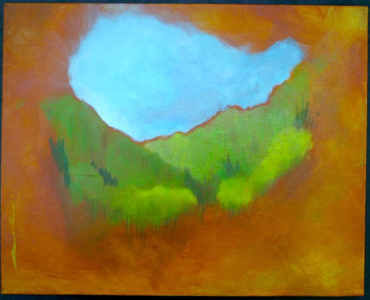 Distant Hills Early Spring16x16$300.00