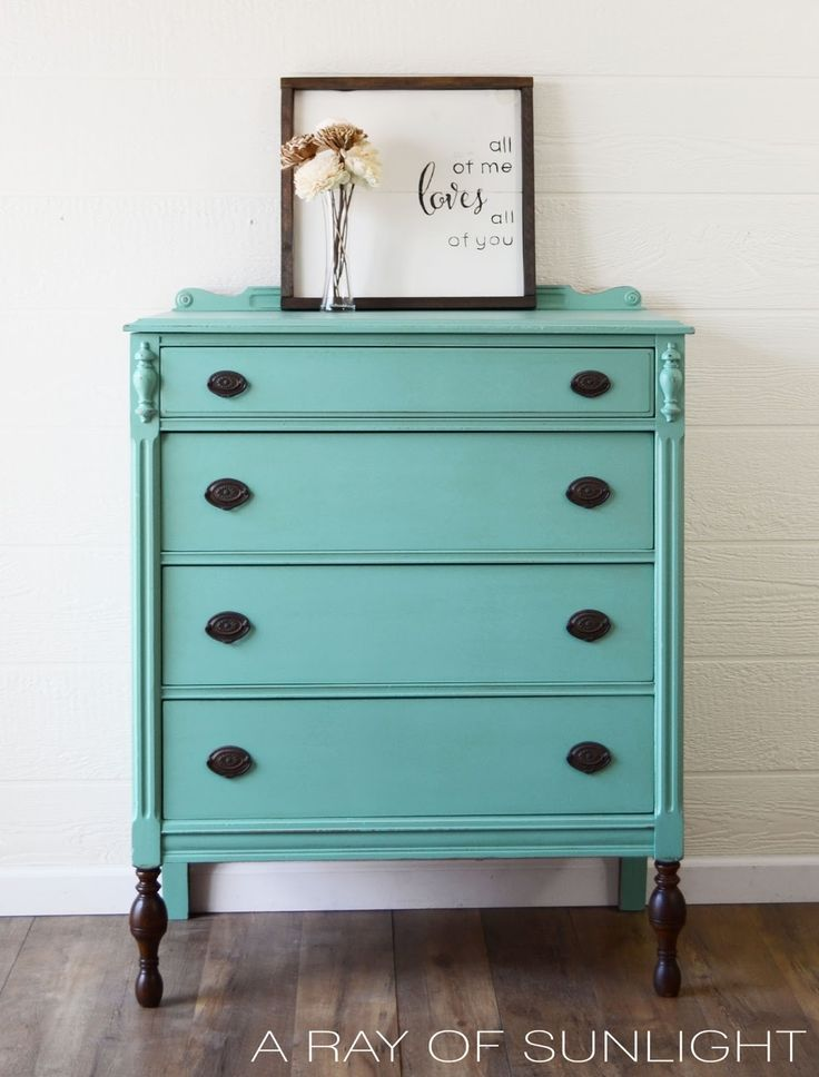 Teal Highboy Dresser with Dark Stained Legs | How to get the dipped furniture look.