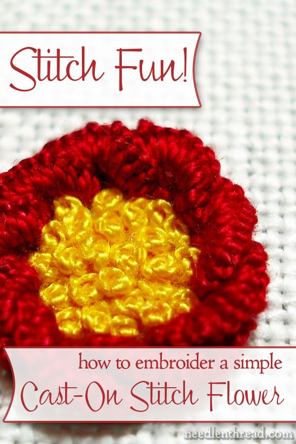 Learn how to create a simple overlapping cast-on stitch flower with this step by step photo tutorial. The cast-on stitch is a terrific embroidery stitch for adding a little dimension and texture to your embroidery projects!
